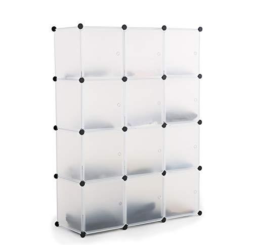 ASUKALE Kleiderschrank aus Kunststoff Tragbares Regalsystem Aufbewahrungsregal Ordnungssystem Steckregal Garderobenschrank mit 16 Würfel (105 × 35 × 140)