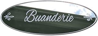Plaque de Porte Buanderie en Plexi Miroir Autocollant - Plaque Miroir Adhésive - Dimensions 16 x 6 cm - Décoration pour Po...