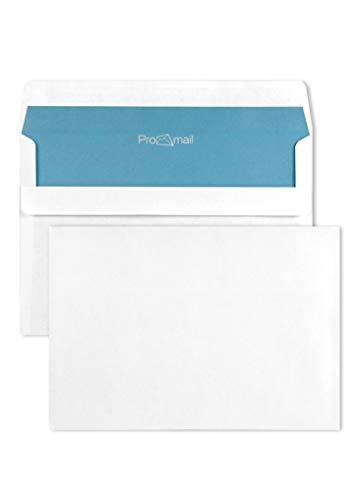 1000 weiße Briefhüllen DIN C6 114x 162 mm 80g Brief-Umschläge weiß mit blauem Innendruck gerade Klappe selbstklebend Briefkuverts ohne Fenster Geschäfts-Umschläge C6 weiß