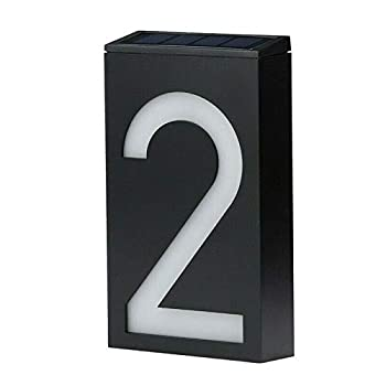 LED Solar House Number Light Garden Numbers Solar Powered Address Sign LED Illuminated Outdoor Plaques and Wall Art Lighted Up for Home Yard Street  Digit 2