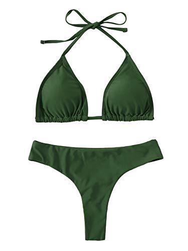 SweatyRocks Women's Solid Color Bathing Suits Halter Triangle Bikini Top Thong Swimsuits Dark Green S