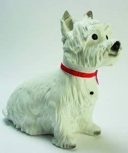 OM Deko Garten Figur Tierfigur West White Terrier Ginger groß mit Bewegungsmelder wau-wau aus Kunststoff Höhe 34 cm