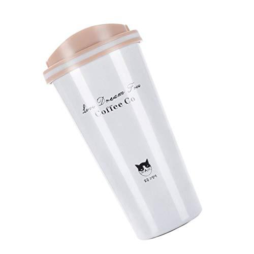 Demino 500ml Edelstahl-Vakuumschalen-Kaffeetasse PP Food Grade Vakuumversiegelung driking Wasserflasche Beige