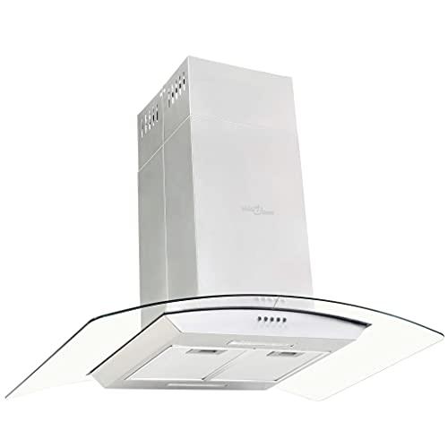 vidaXL Cappa a Isola 756 m³ h LED Acciaio Inossidabile 90cm Filtro Aspirazione