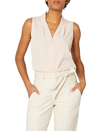 Calvin Klein Damen Ärmellose Bluse mit gewendeter Falte (Standard und Plus) - Pink - Klein