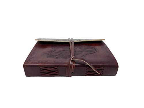 Genuine Rustic Leather Wrap Journal Dragon Embossed Writing Notebook - Travel Bound Daily Notepad for Men & Women Unlined Paper with Strap 240 Kraft Pages, Brown, 5 x 7 inch