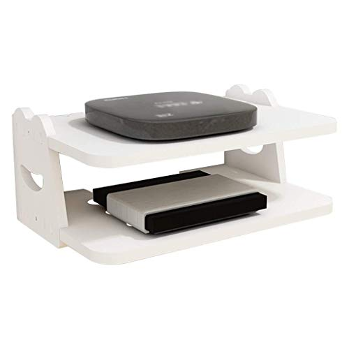 JHSHENGSHI Floating Shelf for TV Components, 2-Layer Wall-Mounted Media Console Shelf is Used Living Room and Bedroom, White Wall Units