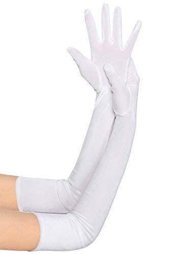 BABEYOND Guantes de terciopelo para mujer, largo/cortos, para fiestas, Audrey Hepburn, de los años 20 4-blanco/55 cm Talla única