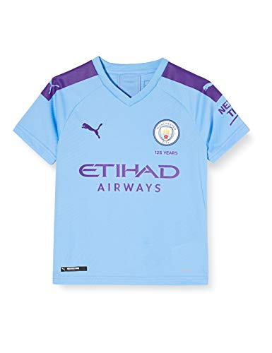 PUMA Kinder MCFC HOME Shirt Replica SS Jr with Sponsor Logo Trikot, Team Light Blue/Tillandsia Purple, 152