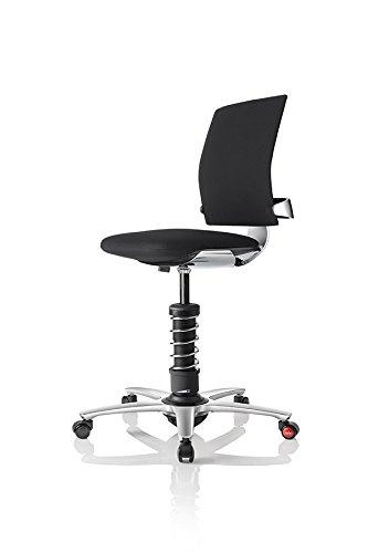 3Dee Active-Office-Chair - PREMIUM-Leder - poliertes Aluminium und Fußkreuz - Feder PLUS