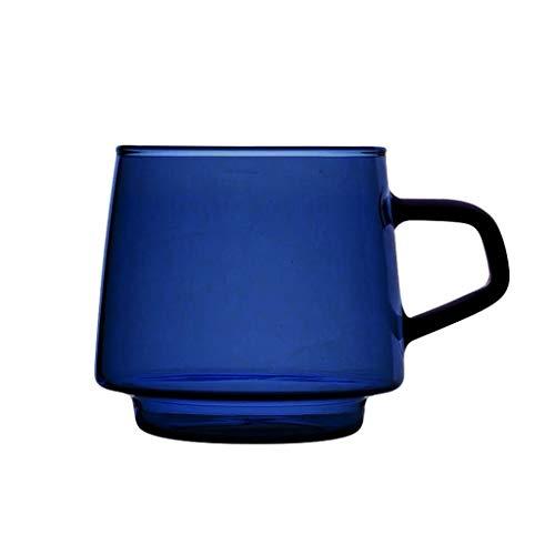 zlw-shop Taza de café Copa del Azul de Cobalto Color del café Taza de Cristal de borosilicato de Alta Resistente al Calor de Cristal de microondas Horno se Puede Utilizar for Cualquier ocasión