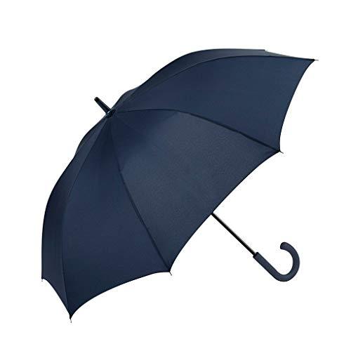 GOTTA Paraguas Largo de Hombre, antiviento y automático con puño Curvo de plástico. Tejido Liso. - Azul