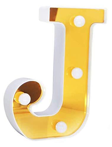 DUBENS LED Alphabet Zahlen Lampe Lichter, Beleuchtete Nummer Brief LED Licht, für Party Hochzeit Empfänge Home Geburtstag Bar, Gold Lichter Dekoration Lichter, Batteriebetrieben (J)