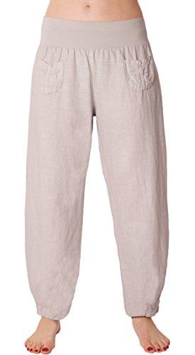 FASHION YOU WANT Damen Leinenhose Größe 36/38 bis Größe 50/52 aus 100% Leinen - leichte Sommerhose Tunnelbund mit Gummizug und 2 aufgesetzten Taschen vorne - weiter Schnitt (42/44, hellgrau)