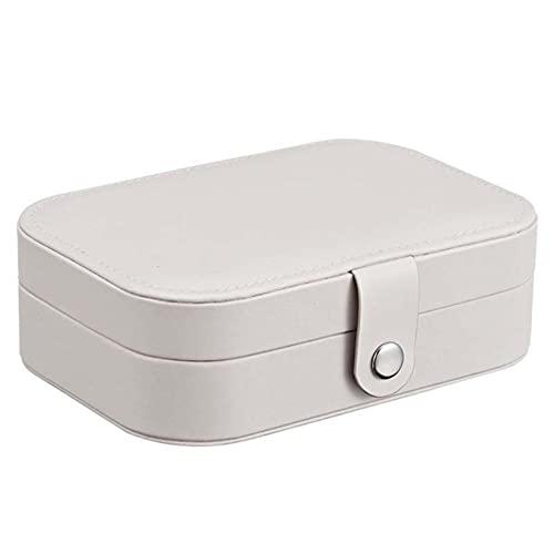 Señora PU De Cuero De La Joyería del Anillo De Almacenamiento Caja De Presentación del Caso Portable De La Joyería Organizador Collares (Color : White)