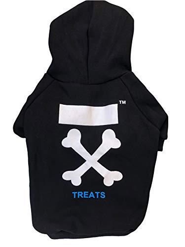 Treat Dog HoodieDog Sweatshirt Dog Hoodies Designer Dog ClothesFashion OutfitFleece HoodedFrench Bulldog ClothesDog Sweater for Small DogsDog Hoodies for Medium DogsSXXL Black/White S