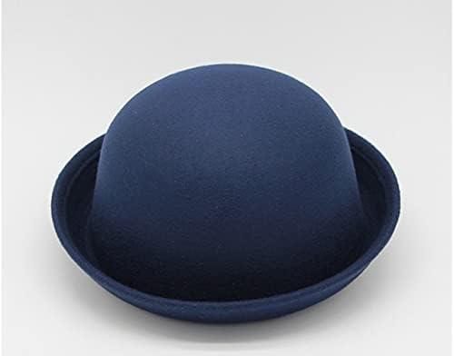 GPQHSM Hats New Parent-Child Bowler Hat W ool Felt Fedora Hats for Women Girls Children Solid C at Ear Formal Cap Cap (Color : 5, Size : 55-60cm)