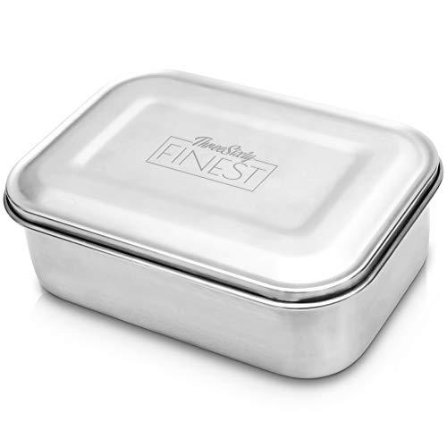 ThreeSixty FINEST Brotdose Edelstahl Brotbox Lunchbox für Kinder und Erwachsene BPA frei und spülmaschinenfest Außen matt Innen glänzend 17x12x6 cm