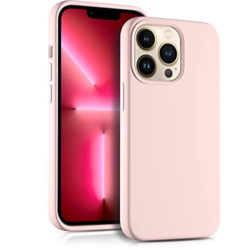 Upeak Silikon Hülle Kompatibel mit iPhone 13 Pro Hülle, Dünne 6,1 Zoll 13 Pro Handyhülle Dreischichtige Struktur Ganzkörper Schutzhülle mit Glatter Textur, Sand Rosa