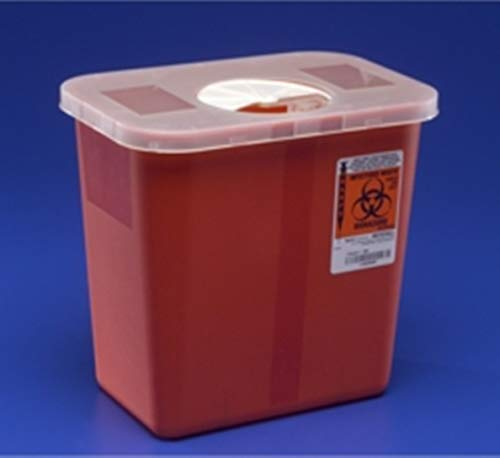 Kendall 8970 Sharps Disposal Biohazard Waste Container with Rotor Lid, 2 Gallon Capacity, 10.5