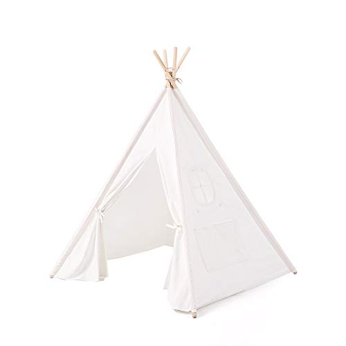 Reyke Tipi children play tent made of cotton canvas pine, Indian children tent with window, mat and without accessories, easy to assemble for children's room, girls, boys (White 160cm high)