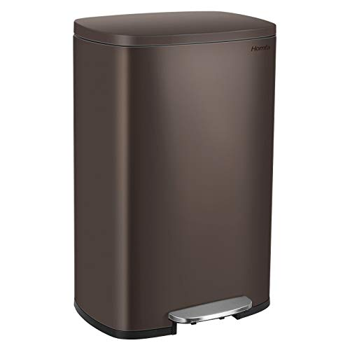 Homfa Kitchen Trash Can, 13.2 Gallon(50L)Stainless Steel Garbage Can with Removable Inner Bucket and Hinged Lids Dual Step Pedal Rubbish Bin Home Office Soft Closure 16.8Lx12.3Wx25.5H inch,Dark Bronze