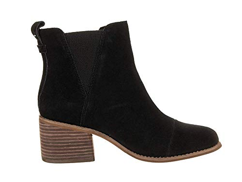 TOMS Womens Esme Heeled Boot Shoes 10013015 Black Suede 8.5