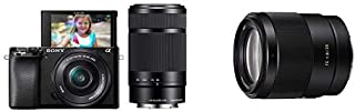 Sony Alpha A6100 Mirrorless Interchangeable Lens APS-C Camera with 16-50mm and 55-210mm Lens with Sony Fe 35mm F1.8 Prime ...