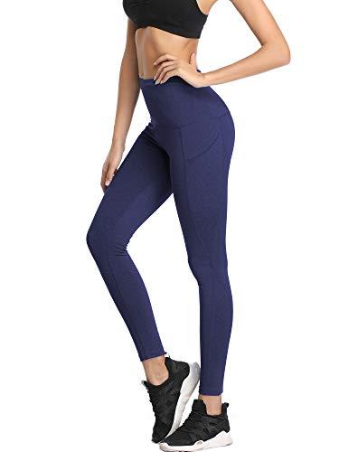 Neleus Women's 3 Pack Yoga Pants Tummy Control High Waist Workout Leggings,Dark Grey/Grey/Navy Blue,M