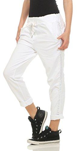 Damen Hose Freizeithose Jogginghose Sportswear Style Stoffhose Baumwollhose Sweatpants Boyfriend mit Seitlichen Glitzerstreifen One Size S M L XL 36 38 40 42, Weiß, One Size (Gr. 36, 38, 40, 42 )