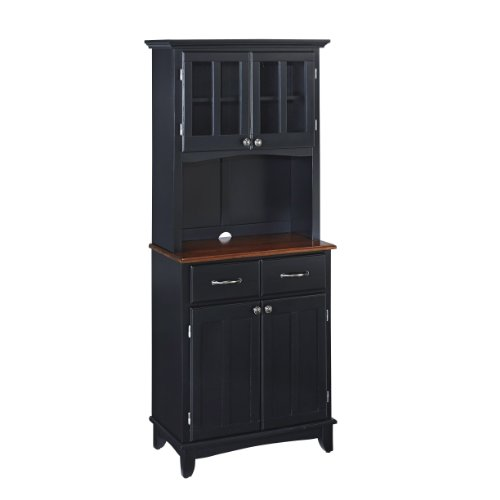 Buffet of Buffet Black with Cherry Wood Top with Hutch by Home Styles