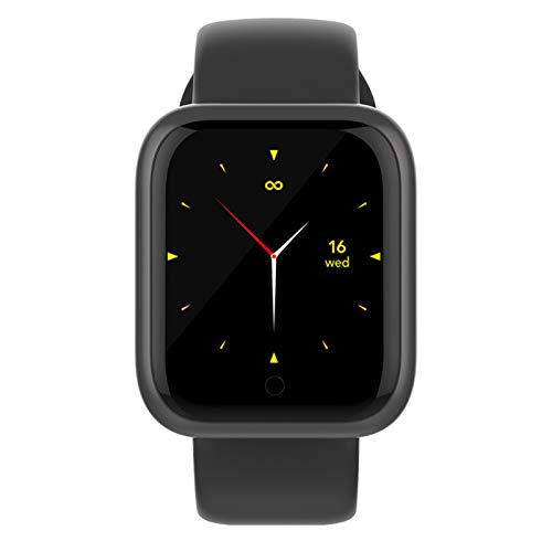 LK-HOME Smartwatch, Touchscreen-Uhr, 24-Stunden-herzfrequenz- Und Blutdruckmessgerät, Wasserdichter Fitness-Tracker, Schrittzähler, Informations-Push-Funktion,Schwarz