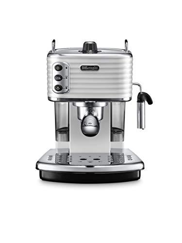 De'Longhi Scultura ECZ351.W Macchina da Caffè Espresso Manuale e Cappuccino, Caffè in Polvere o in Cialde E.S.E., 1100 W, Bianco