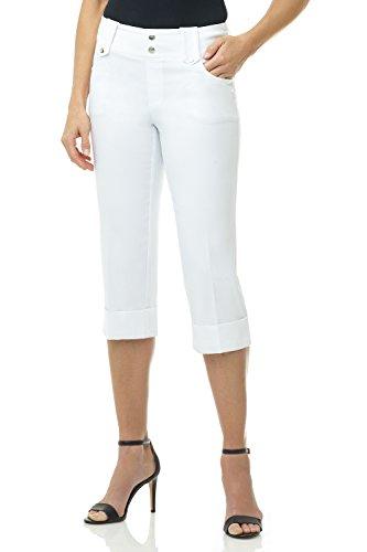 Rekucci Women's Ease into Comfort Modern Classic Cuffed Capri (12,White)