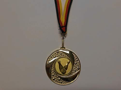 10 x Medaillen aus Metall 50mm - mit Einem Emblem Kegeln - Kegler Logo - inkl. Medaillen Band - Farbe: Gold - (e219)