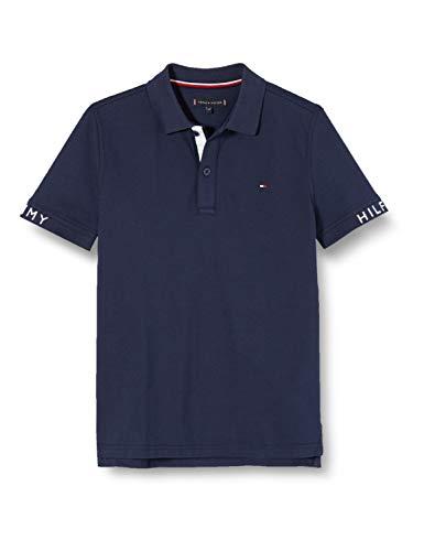 Tommy Hilfiger Jungen Sleeve Text Polo S/s Poloshirt, Blau (Twilight Navy 654-860 C87), One Size (Herstellergröße: 86)