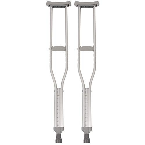 "Underarm Crutch, Adult Tall Crutches, 350 lb. Capacity, Adjustable User Height 5'10"" to 6'6"", Aluminum"