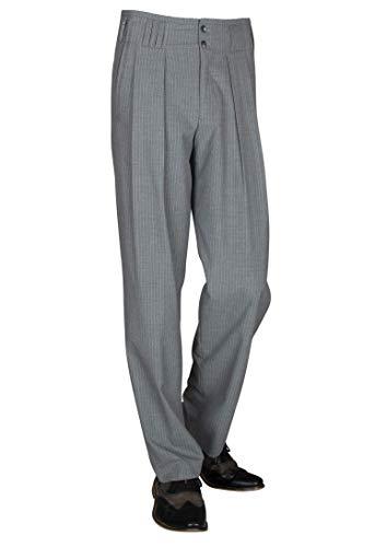 Grau Weiß Gestreifte Bundfaltenhose Herren Retro Vintage Stil Nadelstreifen Hose Modell Boogie Größe 48