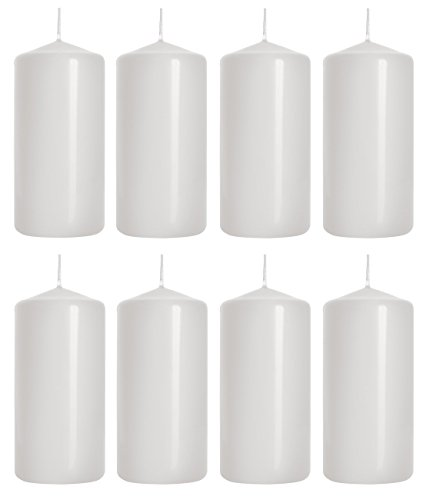 Pillar Candles, size 5 cm/10 cm, pack of 8, (White)