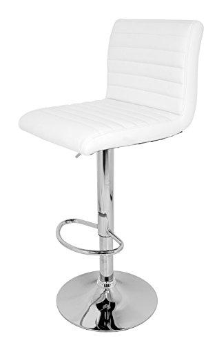 Die spanische Stuhl Hocker mit gepolsterter Sitz, Kunstleder, Weiß, 38x 37x 112cm