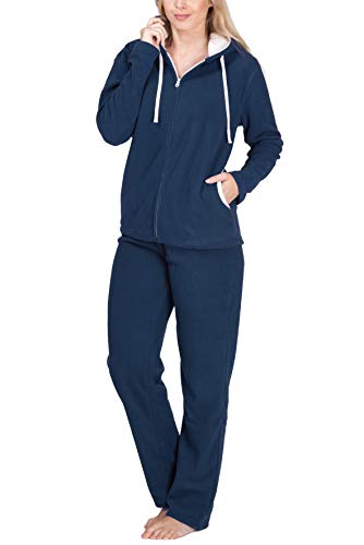 SLOUCHER Fleece-Anzug Hausanzug aus wärmenden Fleece für Damen, Farbe:Rauch-blau, Größe:40-42