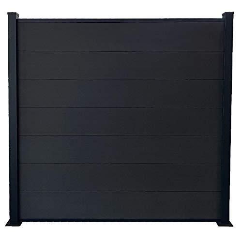Red Deco - Kit de valla para jardín, paneles opacos de madera compuesta y aluminio, juego de base + 4 extensiones: 9,42 m