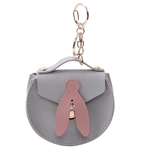 CAVIVI - Monedero para mujer, diseño de monedero con cierre de cremallera y llavero de metal, piel sintética, gris, As description