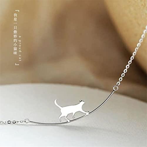 MIKUAU collarNueva Moda Gato Curvado Simple Personalidad joyería de Plata Lindo Animal Caminando Gato clavícula Collares de Cadena
