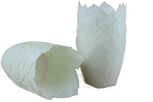 Tulpen Muffinförmchen, 100 Stück, 5cm Bodendurchmesser, 7,5cm Duchmesser an Deckelkante, 8cm hoch, naturweiß