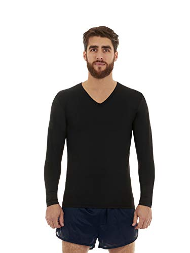 Thermajohn Mens Ultra Soft V-Neck Thermal Underwear Shirt - Fleece Lined Long Sleeve Underwear Long Johns T Shirt (Black, Large)