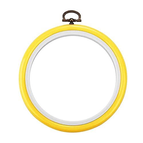 Herramienta de aros de bordado de color de madera redondos, aros de aro de bordado de plástico, aros para aguja de punto de cruz, herramienta artesanal-14cm amarillo