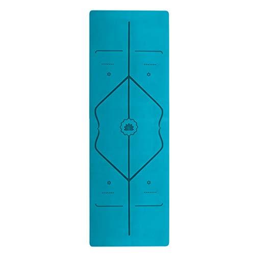 Ejercicio delgado plegable viaje portátil almohadilla de goma natural de gamuza línea de posicionamiento esterilla de yoga antideslizante tienda toalla de entrenamiento (color: azul)