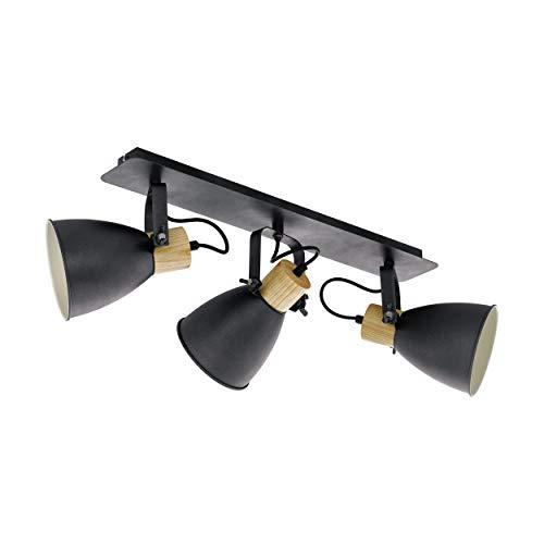 EGLO Deckenlampe Coswarth, 3 flammige Deckenleuchte Vintage, Industrial, Retro, Deckenstrahler aus Stahl und Holz, Wohnzimmerlampe in Anthrazit, Creme-Weiß, Natur, Küchenlampe, Spots mit E27 Fassung