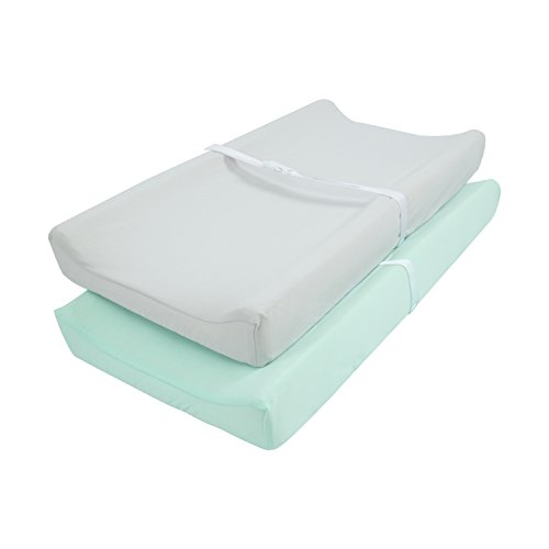 TILLYOU Jersey Knit Ultra Soft Changing Pad Cover Set-Unisex Diaper Change Table Sheets for Baby Girls and Boys-Fit 32'/34'' x 16' Pad-Comfortable Cozy Cradle Sheets -2 Pack Lt Green & Lt Gray